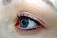 Eyeliner övre + nedre, permanent fransböj samt färgning av fransar och bryn - efter